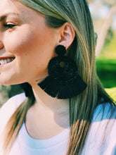 Black Zella Oversized Fringe Earrings