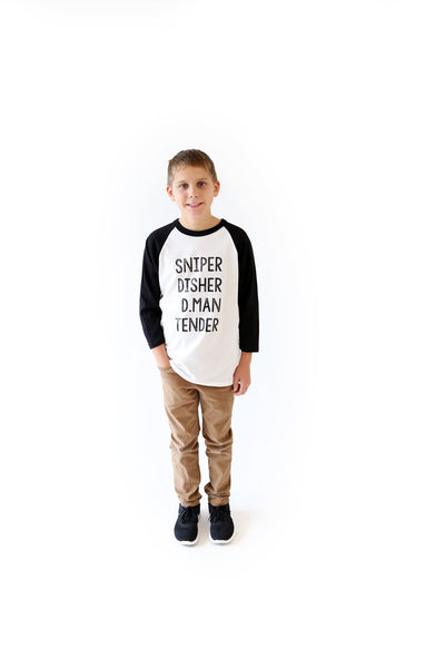 Sniper. Disher. D.Man. Tender Youth Baseball Tee