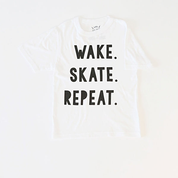 Wake. Skate. Repeat. Kids Tee
