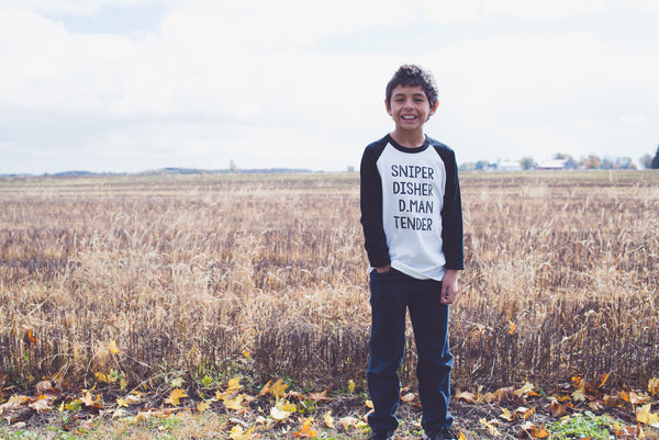 Sniper. Disher. D.Man. Tender Kid's Baseball Tee