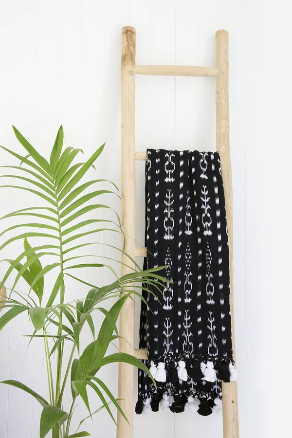 ikat pom pom beach throw - sundayisle
