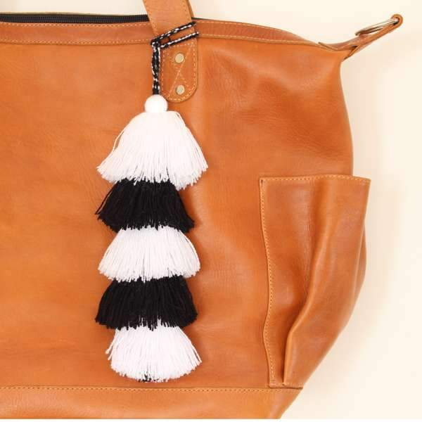 Guatemala Layered Tassel Black & White