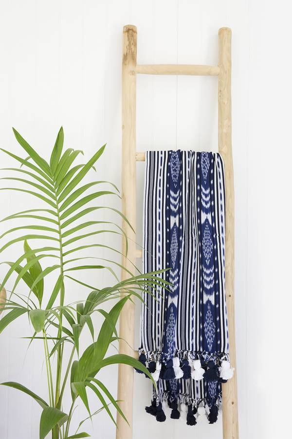 ikat pom pom throw - sundayisle