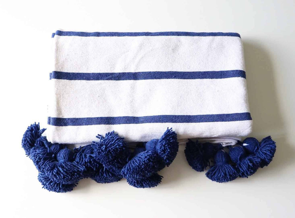 Cotton Pom Pom Blanket Navy Stripe