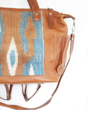 Leather huipil convertible day bag - sundayisle