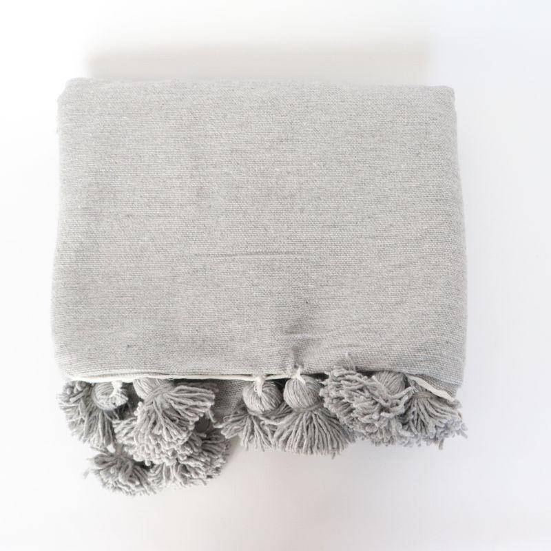 Cotton Pom Pom Blanket Grey LARGE