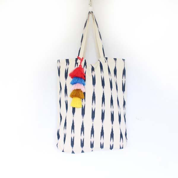 Soleado Shopper Tote Slate Blue & Cream Ikat