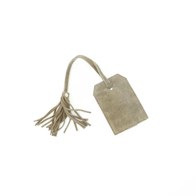 suede luggage tag