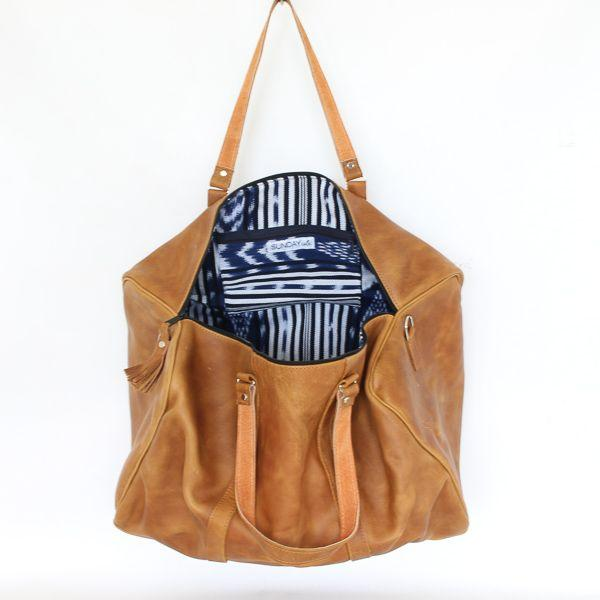 Leather Duffle Travel Bag with Blue Ikat Lining