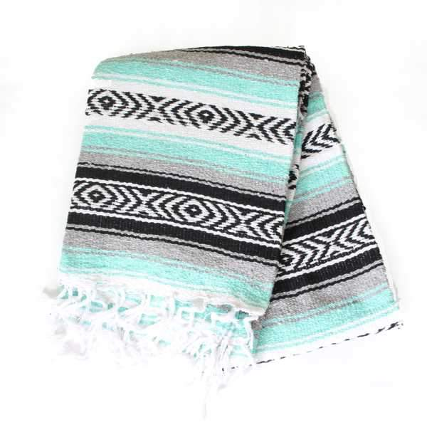 Mexican Falsa Blanket Large - Seafoam Green