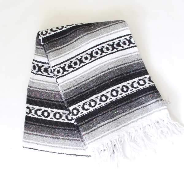 Mexican Falsa Blanket Large - Grey