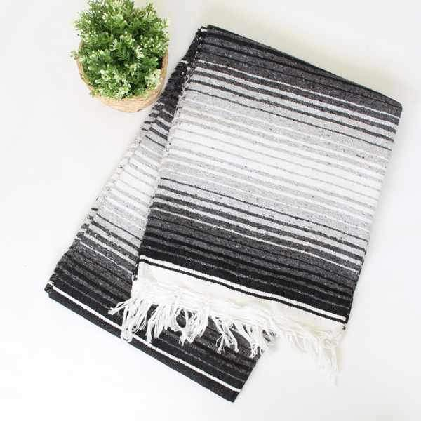Mexican Cotton Serape Blanket Large - Black & White