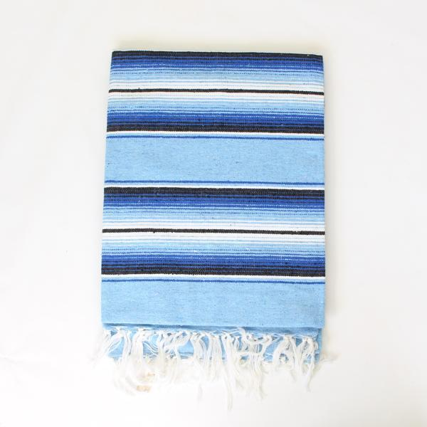 Mexican Cotton Serape Blanket Large - Blue