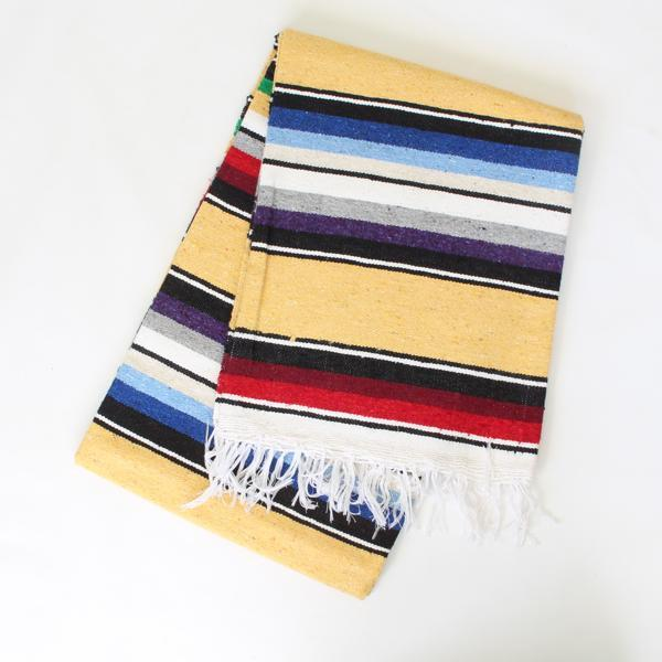 Mexican Cotton Serape Blanket Large - Mustard