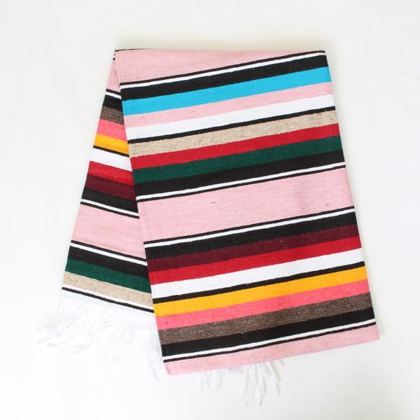 Mexican Cotton Serape Blanket Large - Pale Pink