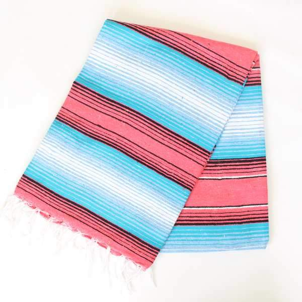 Mexican Cotton Serape Blanket Large - Salmon