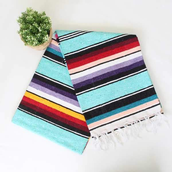 Mexican Cotton Serape Blanket Large - Aqua