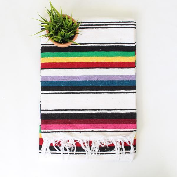 Mexican Cotton Serape Blanket Large - White