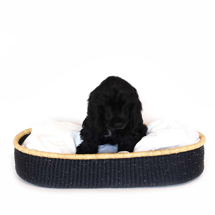 Shortie Dog Bed Basket (cushion included) - Medium / Design 30