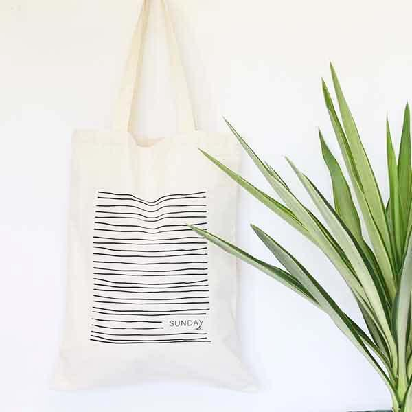 Waves Cotton Tote Small