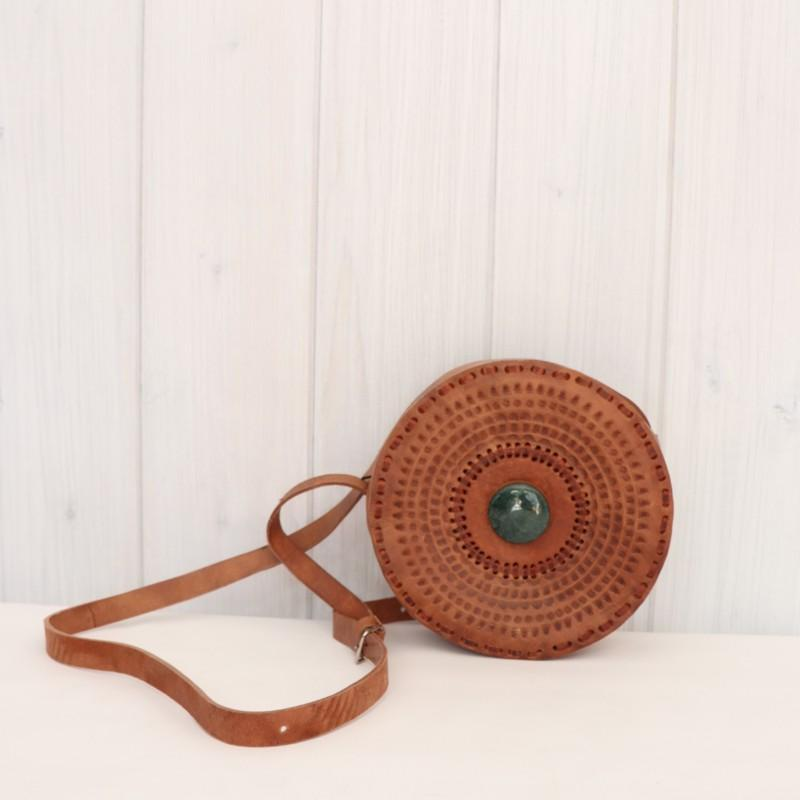 Small Round Leather & Stone Crossbody bag
