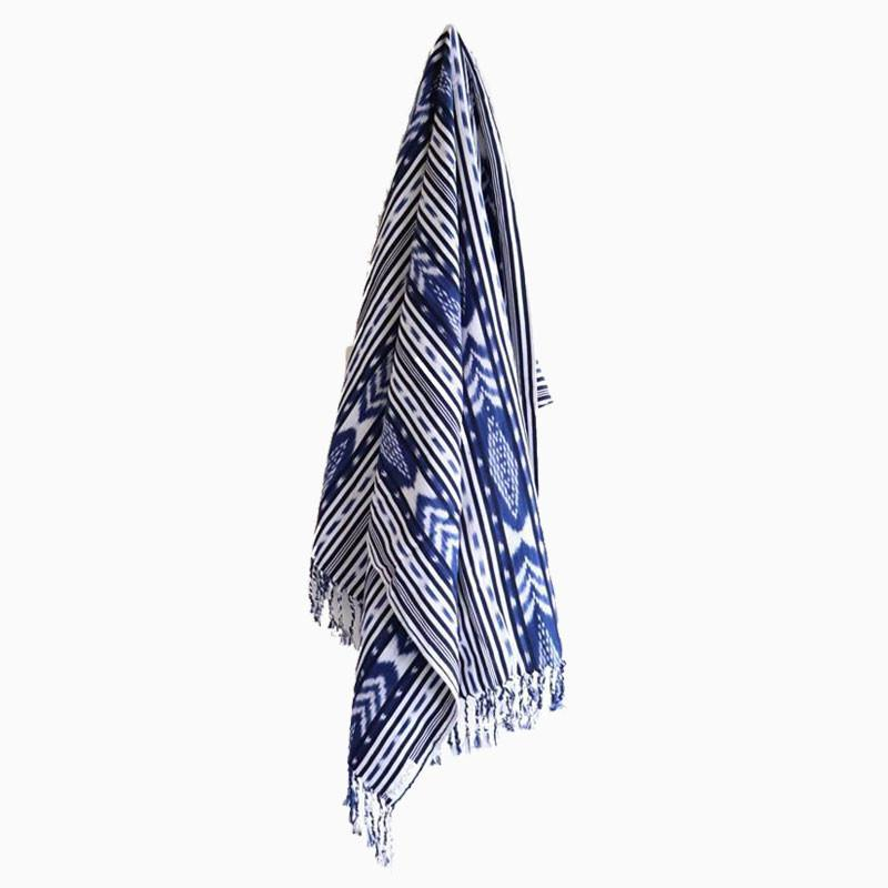 Aquaholic Blue Tassel Throw - sundayisle