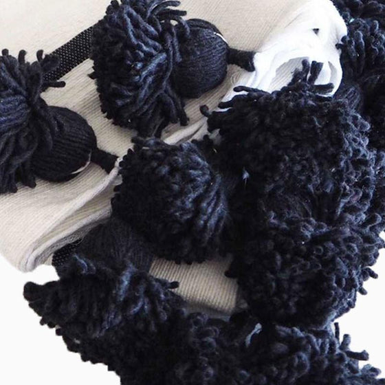 Cotton Pom Pom Blanket Black Stripe - sundayisle