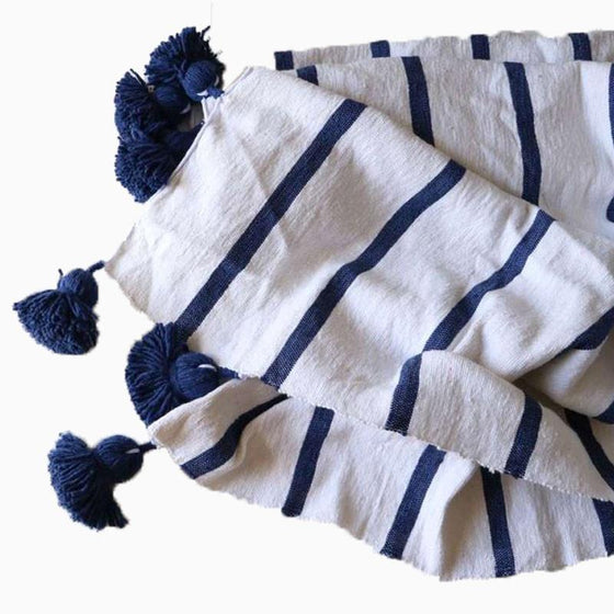 Cotton Pom Pom Blanket Navy Stripe - sundayisle