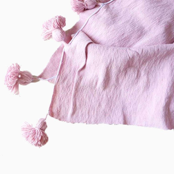 Cotton Pom Pom Blanket Pink SMALL - sundayisle