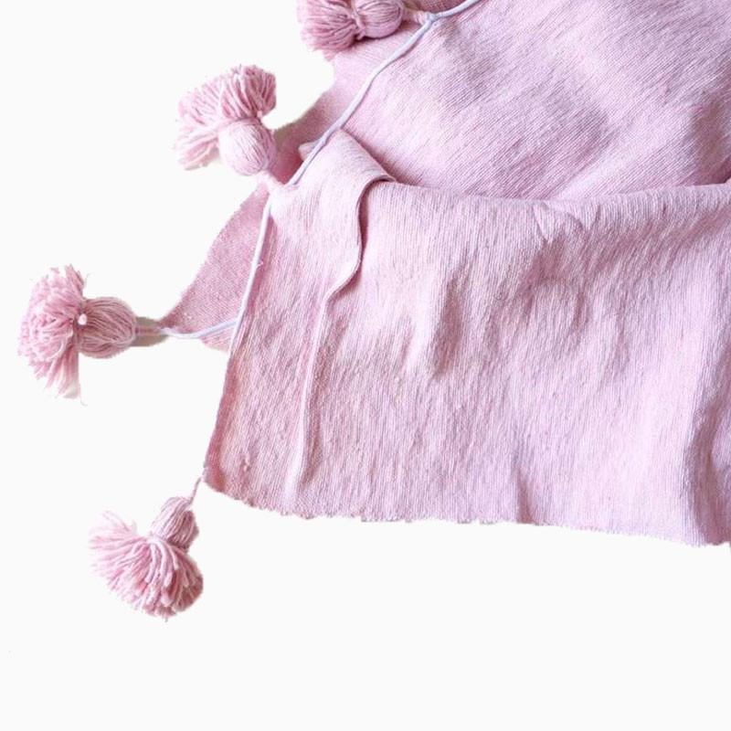 Cotton Pom Pom Blanket Pink LARGE - sundayisle
