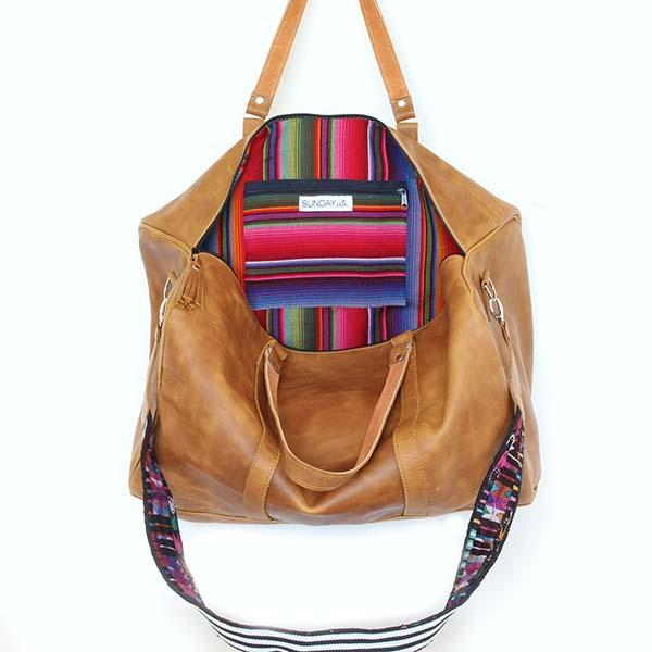 Leather Duffle Travel Bag with Rainbow Lining