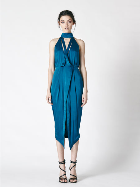 ALIVE MILK SILK DRESS - BLUE
