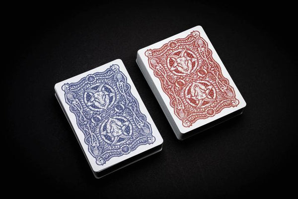 666 Crimson Cobalt Playing Cards Riffle Shuffle Numbered Seal 2-Deck Set