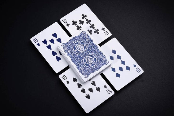 666 Blue Cobalt Playing Cards Riffle Shuffle Custom Limited Numbered Seal