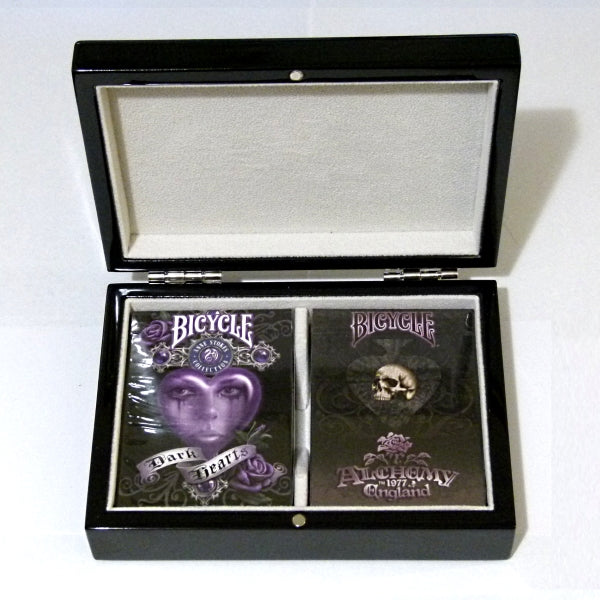 Alchemy Dark Hearts Playing Cards Black Gloss Wooden Box set