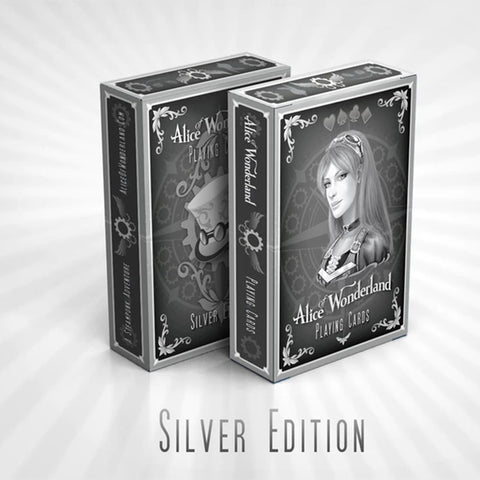 Alice in Wonderland Playing Cards Silver Edition Steampunk Deck