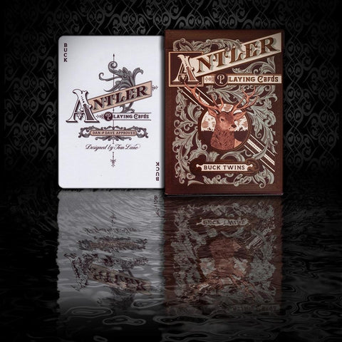 Antler Playing Cards Deep Maroon Buck Twins Deck by Dan & Dave New