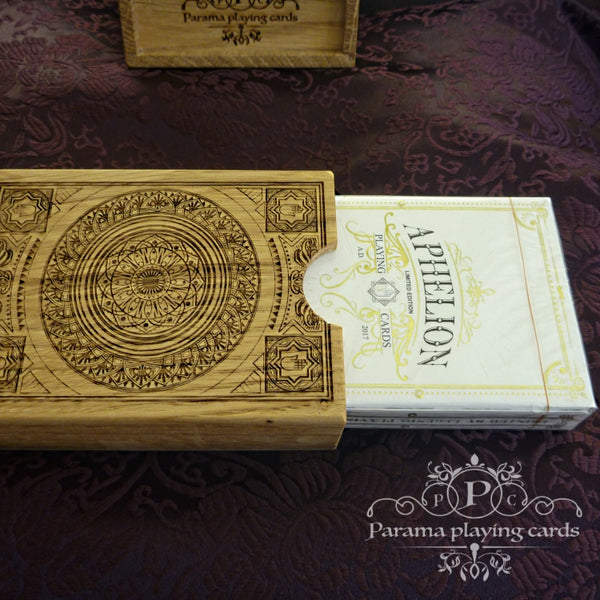 Aphelion Playing Cards Italian Oak Rare Wood Collectors Box #46