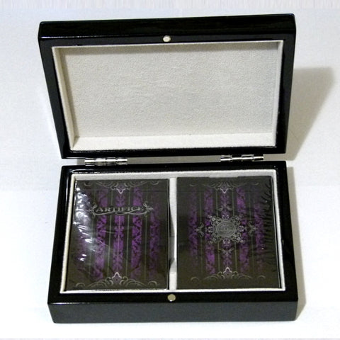 Artifice Purple Playing Cards Ellusionist Black Gloss Wooden Box