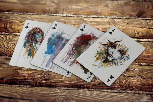 Gold Gilded Artist Playing Cards Ink Tea Alcohol art designed in London Rare