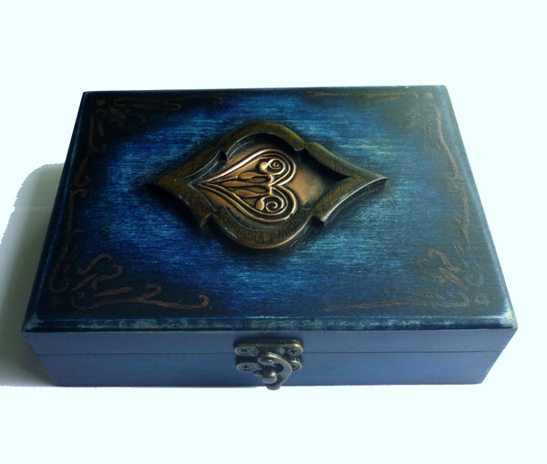 Playing Cards Rare Blue Wood Box Holds 2-Decks Empty Artistic Hand Crafted in Greece