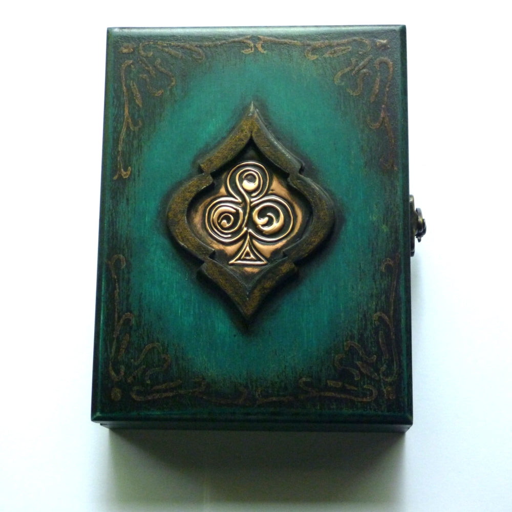 Playing Cards Rare Green Wood Box Holds 2-Decks Empty Artistic Hand Crafted in Greece