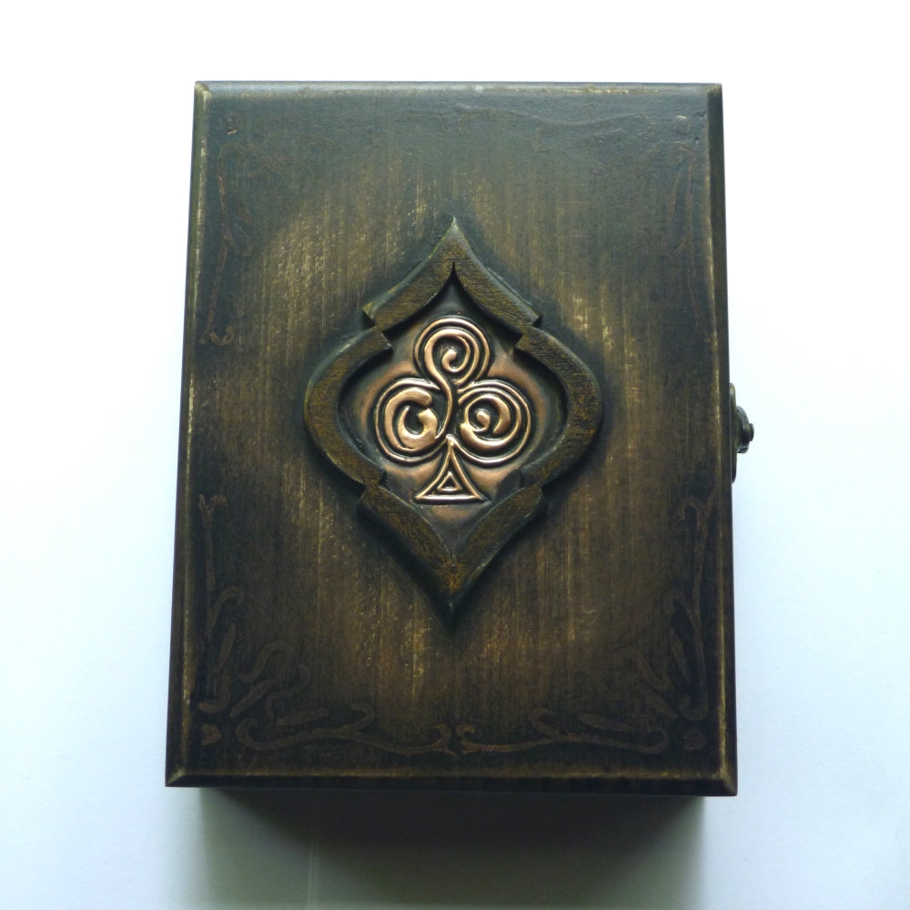 Playing Cards Rare Wood Box Holds 2-Decks Empty Artistic Hand Crafted in Greece