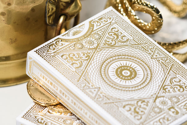 White Aurelian Playing Cards Roman V2 Aurelians Luxury Ellusionist Gold Embossed