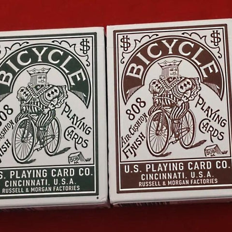 Autobike Playing Cards Green and Brown Edition Made in USA ~ 2 Decks Set