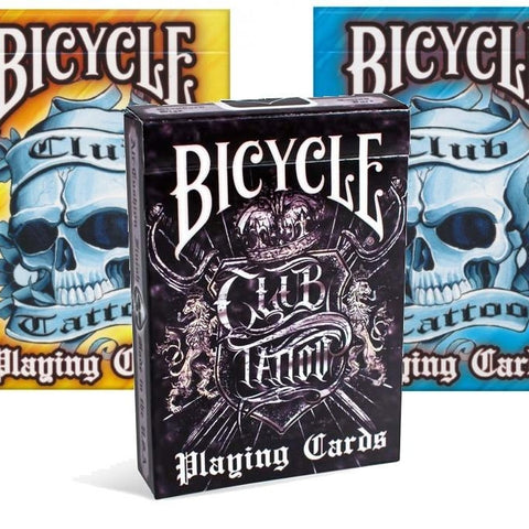 Club Tattoo Playing Cards Black Yellow Blue Editions Made in USA ~ 3 Decks Set