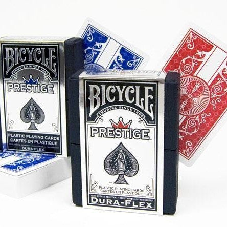 Bicycle Prestige Playing Cards Poker Deck Blue & Red Editions 100% Plastic 2 Set