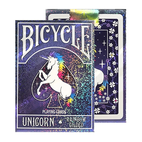 Rainbow Gilded Unicorn Playing Cards Purple deck Holographic finish