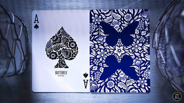 Butterfly Playing Cards LTD Blue Rare Carat Case Signed
