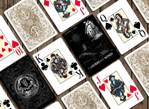 Caribbean Wind Playing Cards Rare Luxury Collectors 3-Deck + Silver Coin